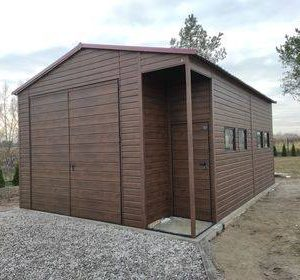 Garaż blaszak drewnopodobny  5×7 z wnęką 5 x 7m